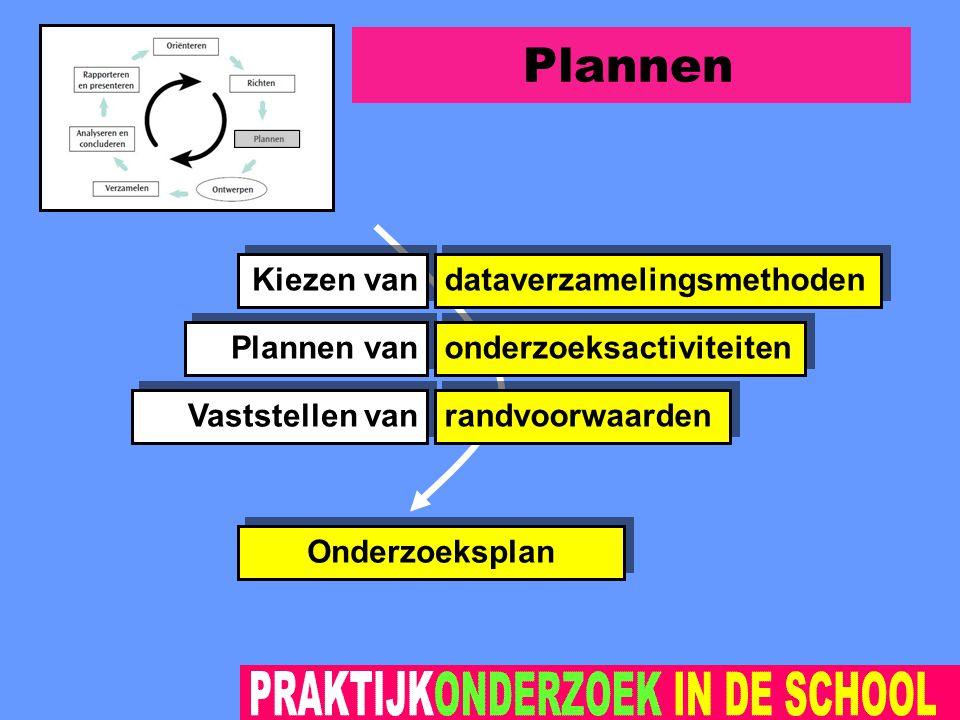 Plannen dataverzamelingsmethoden onderzoeksactiviteiten Onderzoeksplan Kiezen van randvoorwaarden Plannen van Vaststellen van