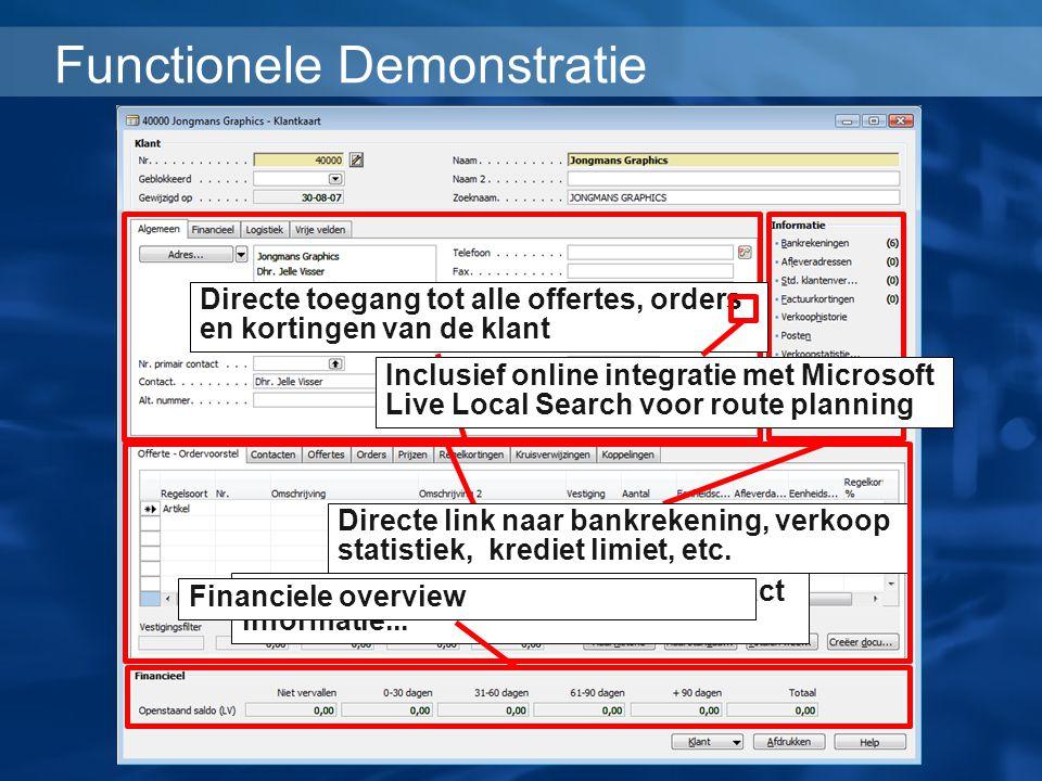 Functionele Demonstratie De klantenkaart biedt adres- en contact informatie... Directe link naar bankrekening, verkoop statistiek, krediet limiet, etc