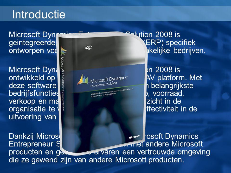 Microsoft Dynamics Entrepreneur Solution 2008 is geintegreerde, flexible bedrijfssoftware (ERP) specifiek ontworpen voor de behoeften van kleinzakelij