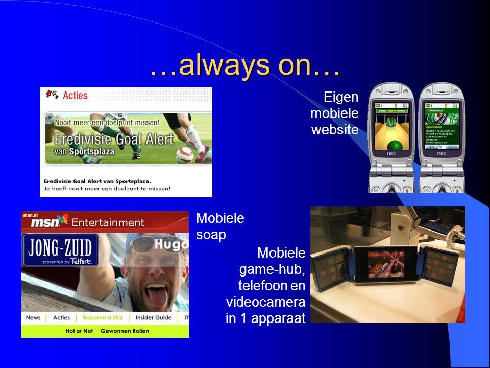 …always on… Mobiele game-hub, telefoon en videocamera in 1 apparaat Eigen mobiele website Mobiele soap