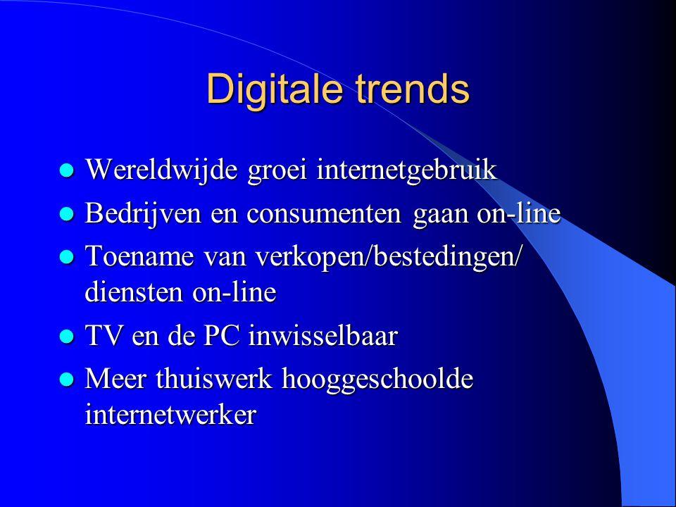 Digitale trends  Wereldwijde groei internetgebruik  Bedrijven en consumenten gaan on-line  Toename van verkopen/bestedingen/ diensten on-line  TV en de PC inwisselbaar  Meer thuiswerk hooggeschoolde internetwerker