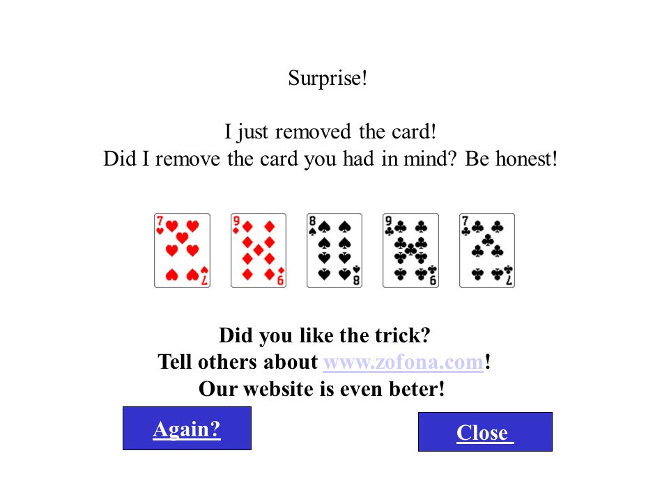 Click here for the Zofona card trick Grote Truuk....