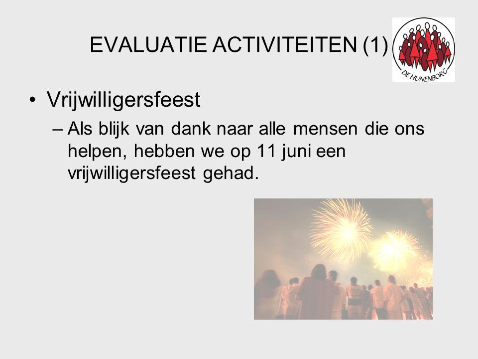 EVALUATIE ACTIVITEITEN (1) •Vrijwilligersfeest –Als blijk van dank naar alle mensen die ons helpen, hebben we op 11 juni een vrijwilligersfeest gehad.