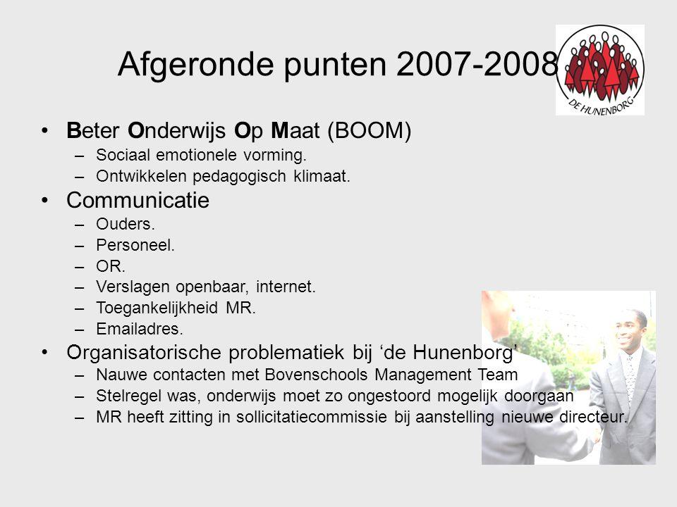 Planning 2008-2009 •Huishoudelijk reglement MR/GMR.