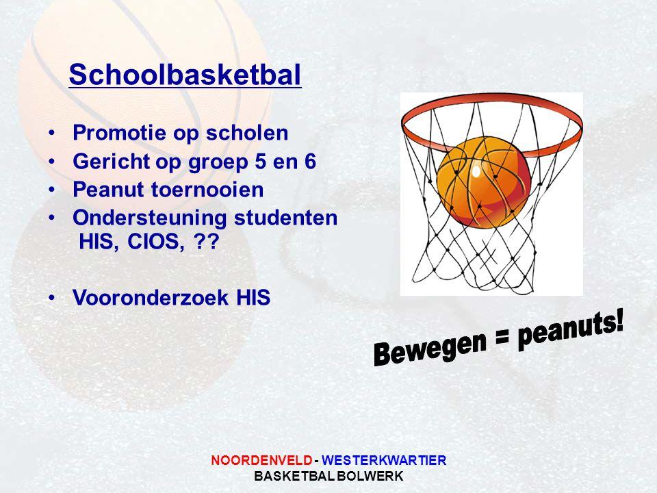 NOORDENVELD - WESTERKWARTIER BASKETBAL BOLWERK Schoolbasketbal •Promotie op scholen •Gericht op groep 5 en 6 •Peanut toernooien •Ondersteuning studenten HIS, CIOS, ?.