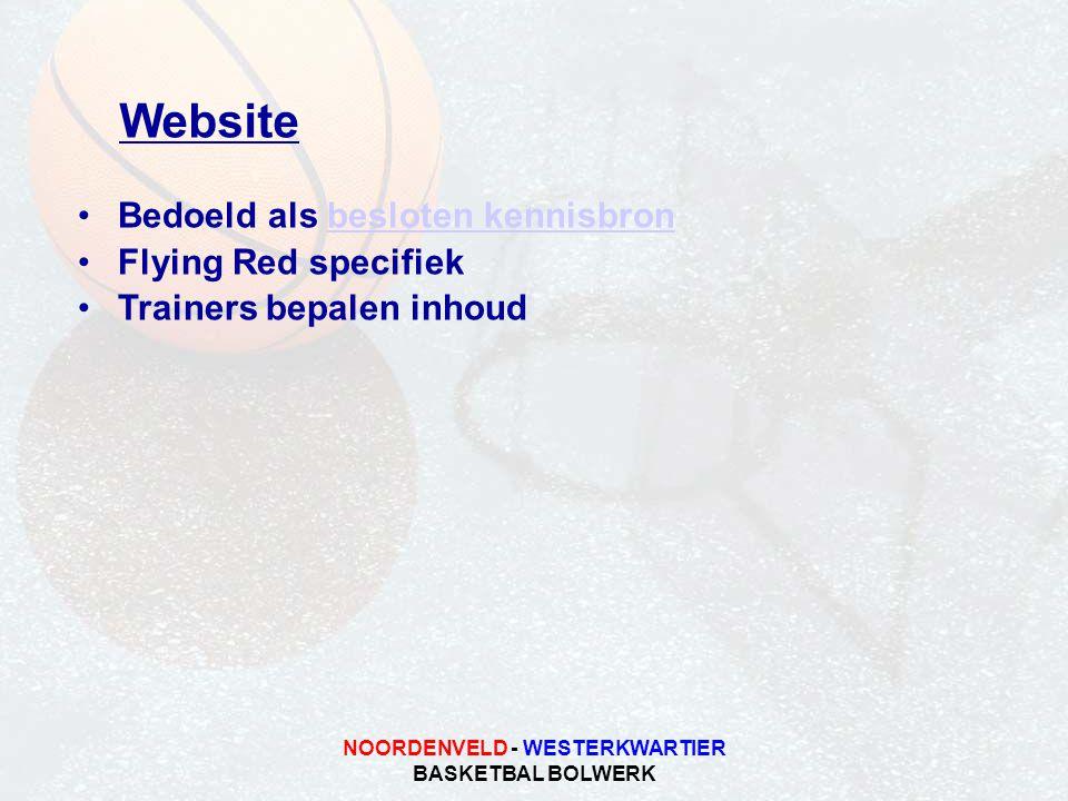 NOORDENVELD - WESTERKWARTIER BASKETBAL BOLWERK Website •Bedoeld als besloten kennisbronbesloten kennisbron •Flying Red specifiek •Trainers bepalen inhoud