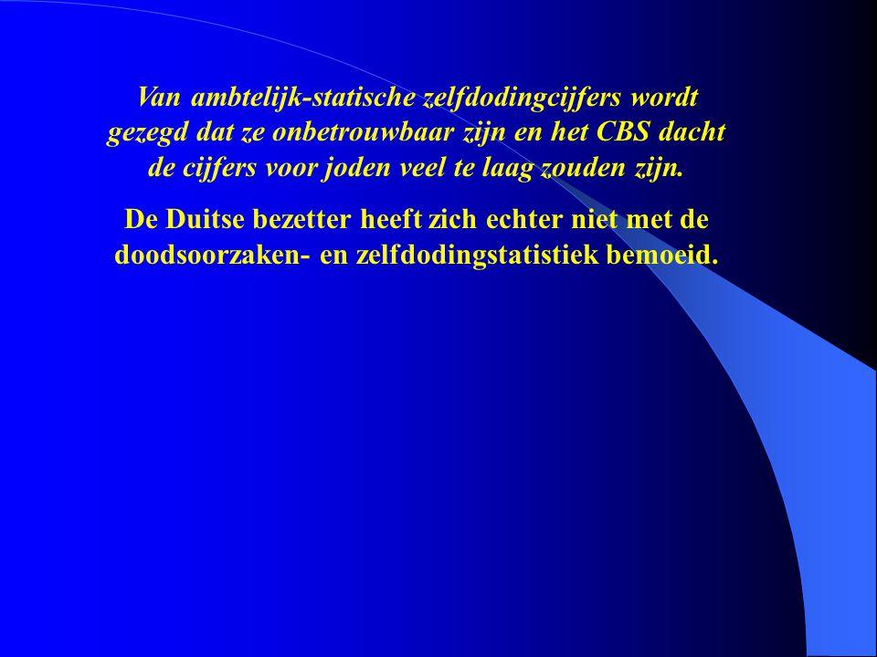 De Duitse bezetter heeft zich echter niet met de doodsoorzaken- en zelfdodingstatistiek bemoeid.