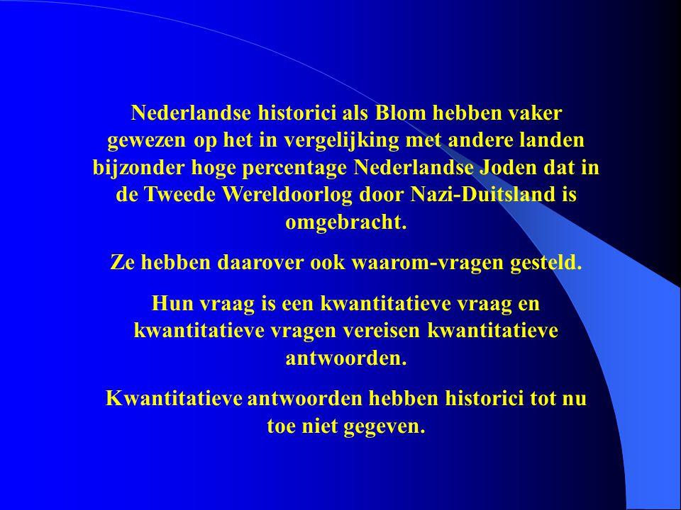 Nederlandse historici als Blom hebben vaker gewezen op het in vergelijking met andere landen bijzonder hoge percentage Nederlandse Joden dat in de Twe