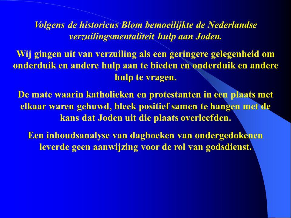 Volgens de historicus Blom bemoeilijkte de Nederlandse verzuilingsmentaliteit hulp aan Joden. Wij gingen uit van verzuiling als een geringere gelegenh