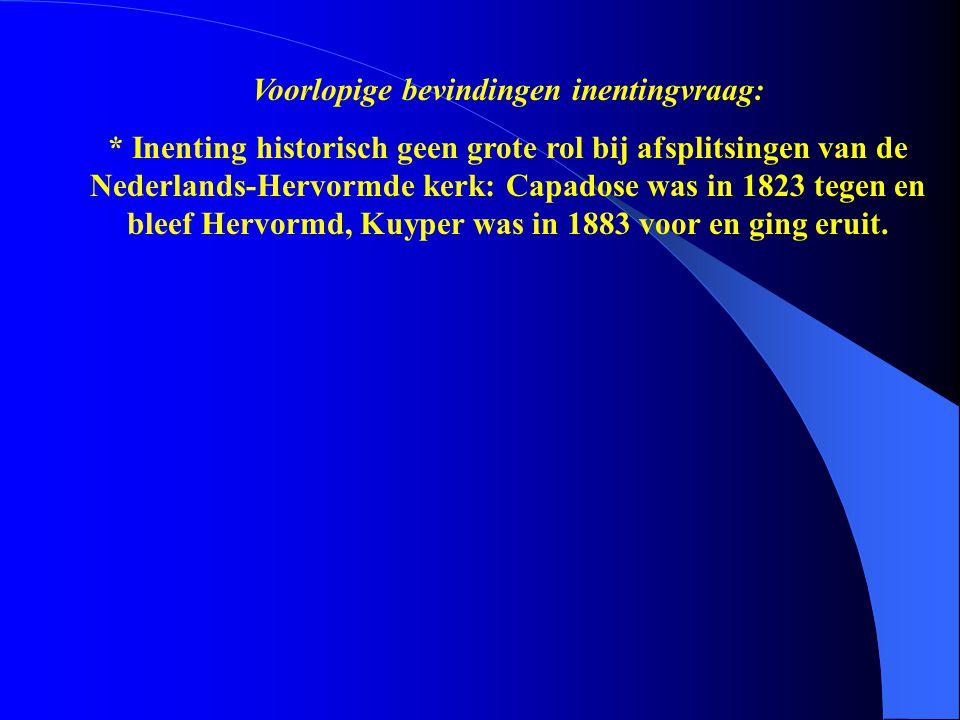 * Inenting historisch geen grote rol bij afsplitsingen van de Nederlands-Hervormde kerk: Capadose was in 1823 tegen en bleef Hervormd, Kuyper was in 1