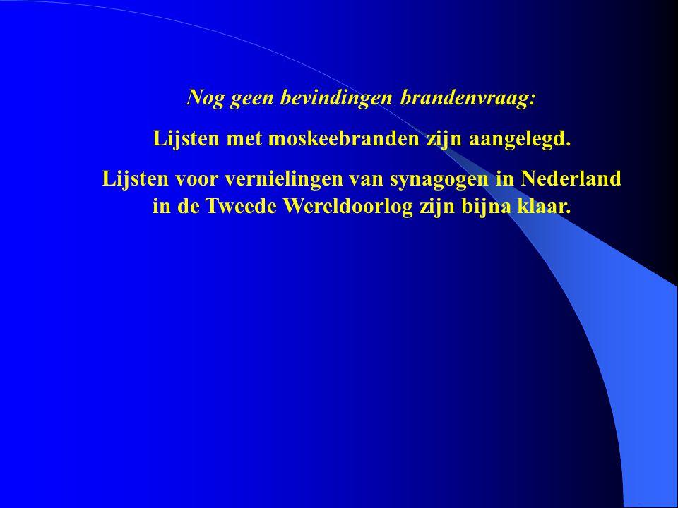 Nog geen bevindingen brandenvraag: Lijsten met moskeebranden zijn aangelegd. Lijsten voor vernielingen van synagogen in Nederland in de Tweede Wereldo