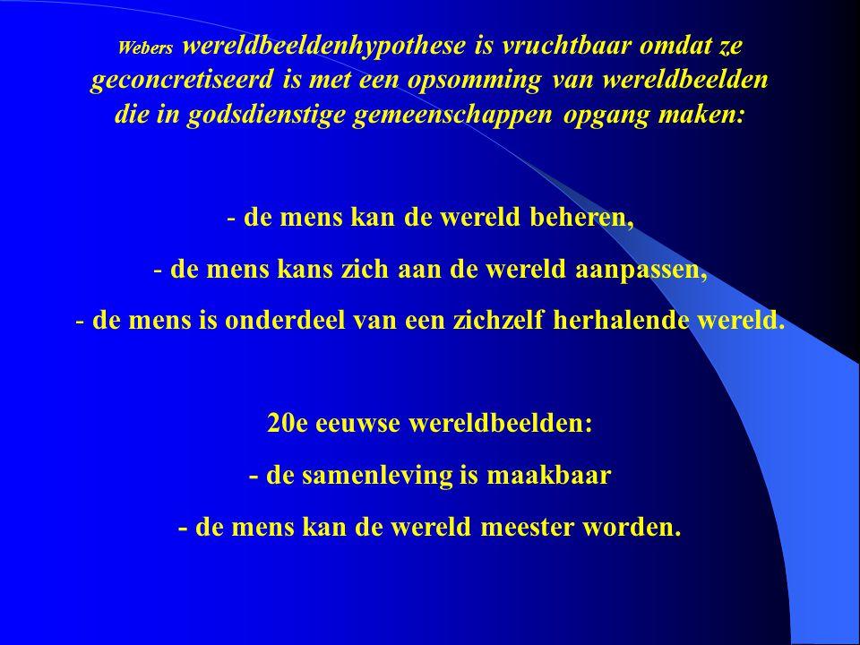 Webers wereldbeeldenhypothese is vruchtbaar omdat ze geconcretiseerd is met een opsomming van wereldbeelden die in godsdienstige gemeenschappen opgang