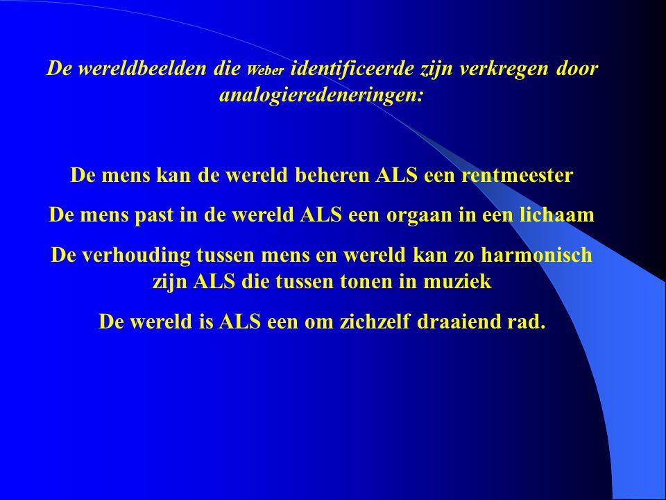 De wereldbeelden die Weber identificeerde zijn verkregen door analogieredeneringen: De mens kan de wereld beheren ALS een rentmeester De mens past in