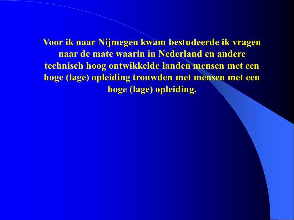 Voor ik naar Nijmegen kwam bestudeerde ik vragen naar de mate waarin in Nederland en andere technisch hoog ontwikkelde landen mensen met een hoge (lag