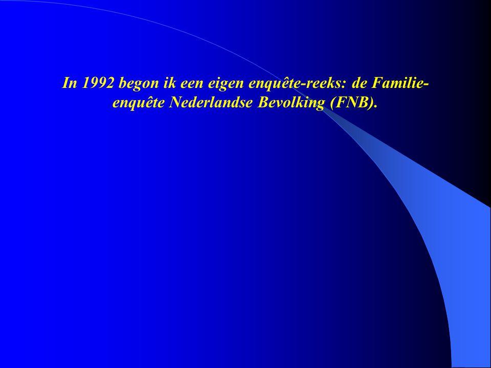 In 1992 begon ik een eigen enquête-reeks: de Familie- enquête Nederlandse Bevolking (FNB).