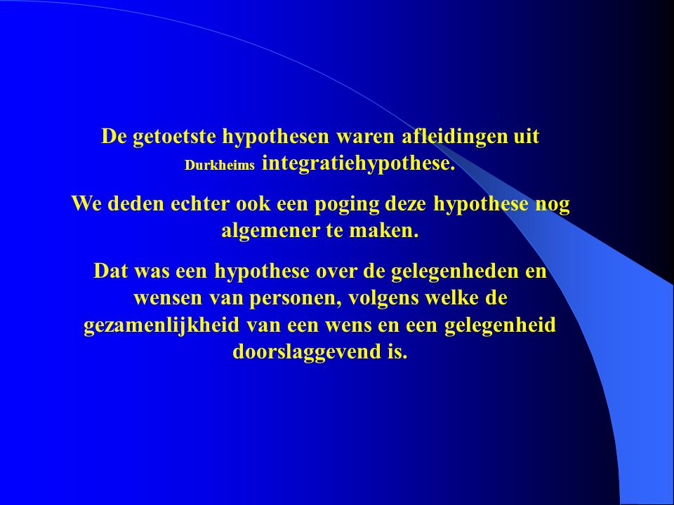 De getoetste hypothesen waren afleidingen uit Durkheims integratiehypothese. We deden echter ook een poging deze hypothese nog algemener te maken. Dat