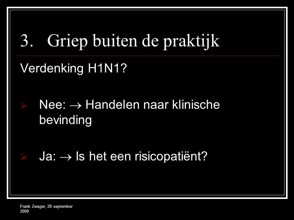 Frank Zwager, 28 september 2009 3.Griep buiten de praktijk Verdenking H1N1?  Nee:  Handelen naar klinische bevinding  Ja:  Is het een risicopatiën