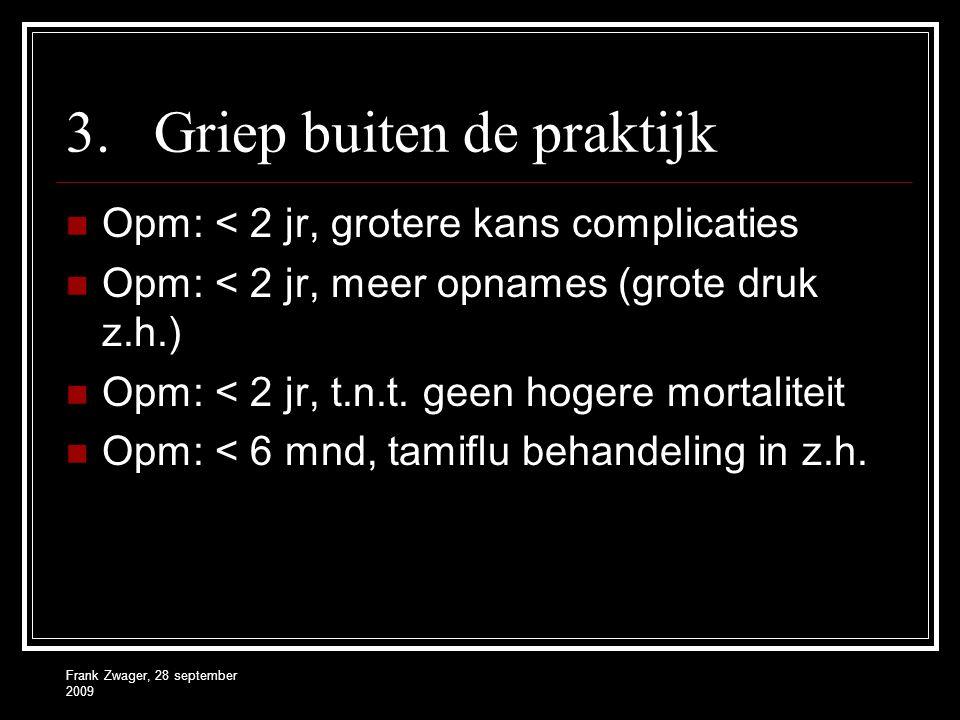 Frank Zwager, 28 september 2009 3.Griep buiten de praktijk  Opm: < 2 jr, grotere kans complicaties  Opm: < 2 jr, meer opnames (grote druk z.h.)  Op