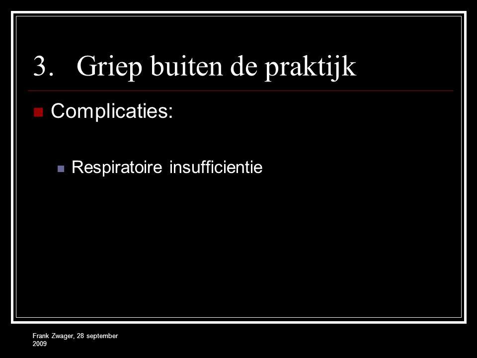 Frank Zwager, 28 september 2009 3.Griep buiten de praktijk  Complicaties:  Respiratoire insufficientie
