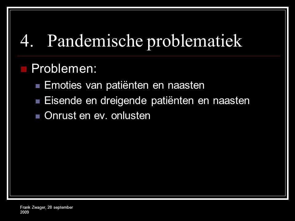 Frank Zwager, 28 september 2009 4.Pandemische problematiek  Problemen:  Emoties van patiënten en naasten  Eisende en dreigende patiënten en naasten