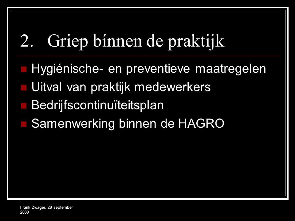 Frank Zwager, 28 september 2009 2.Griep bínnen de praktijk  Hygiénische- en preventieve maatregelen  Uitval van praktijk medewerkers  Bedrijfsconti