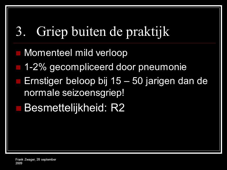 Frank Zwager, 28 september 2009 3.Griep buiten de praktijk  Momenteel mild verloop  1-2% gecompliceerd door pneumonie  Ernstiger beloop bij 15 – 50