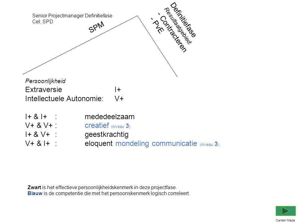 SPM Persoonlijkheid Extraversie I+ Intellectuele Autonomie:V+ I+ & I+:mededeelzaam V+ & V+:creatief (niveau 3 ) I+ & V+:geestkrachtig V+ & I+ :eloquent mondeling communicatie (niveau 3 ), Senior Projectmanager Definitiefase Cel; SPD Career Maze Definitiefase Resultaatgebied: - Contracteren - PvE Zwart is het effectieve persoonlijkheidskenmerk in deze projectfase.