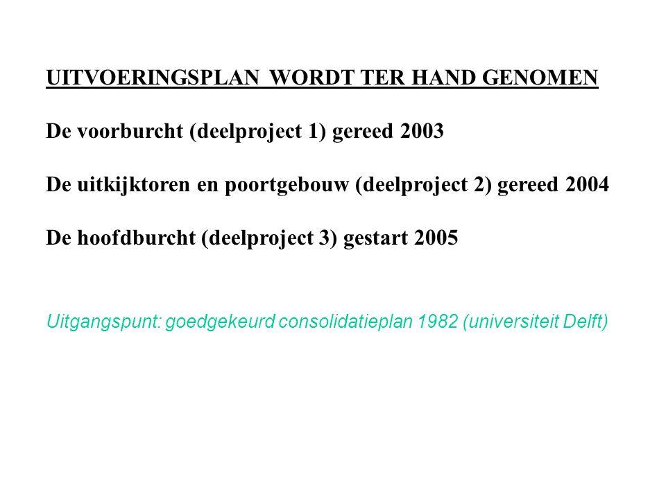 UITVOERINGSPLAN WORDT TER HAND GENOMEN De voorburcht (deelproject 1) gereed 2003 De uitkijktoren en poortgebouw (deelproject 2) gereed 2004 De hoofdburcht (deelproject 3) gestart 2005 Uitgangspunt: goedgekeurd consolidatieplan 1982 (universiteit Delft)