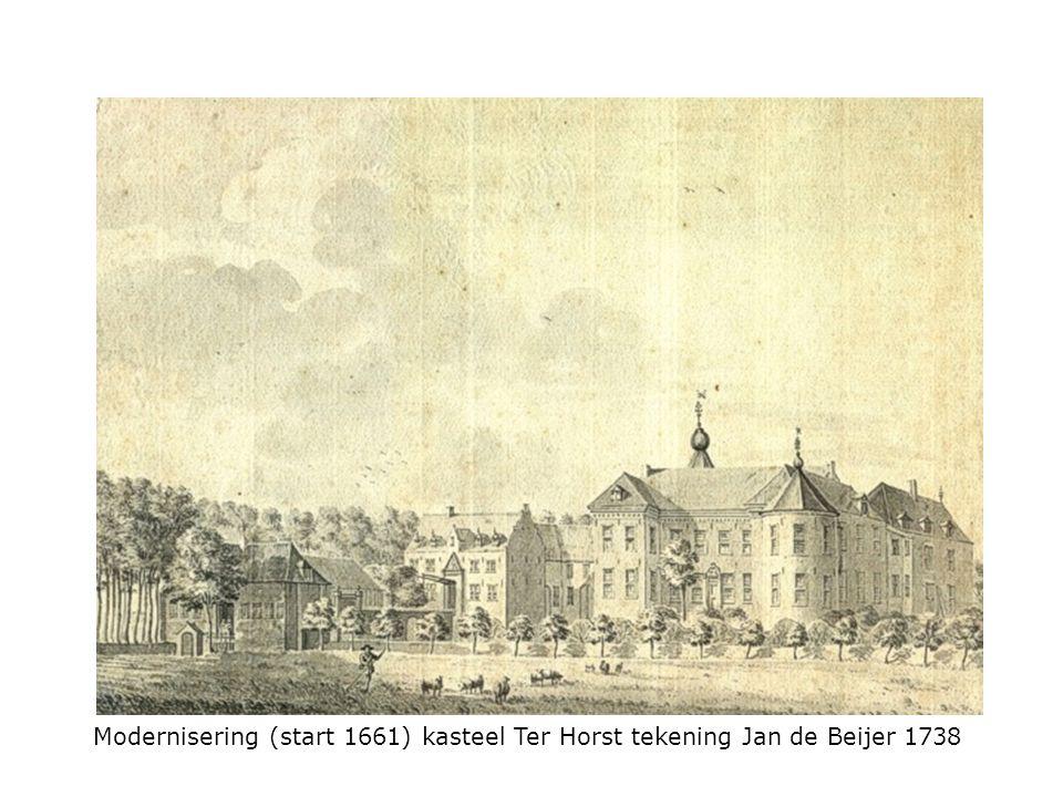 Modernisering (start 1661) kasteel Ter Horst tekening Jan de Beijer 1738