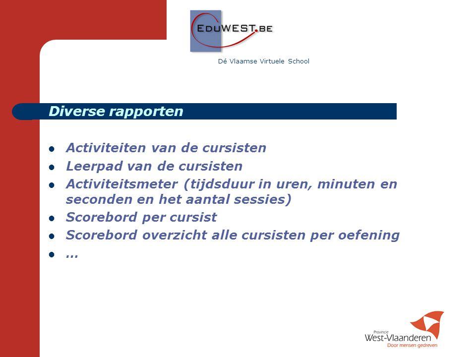 Dé Vlaamse Virtuele School  Activiteiten van de cursisten  Leerpad van de cursisten  Activiteitsmeter (tijdsduur in uren, minuten en seconden en he