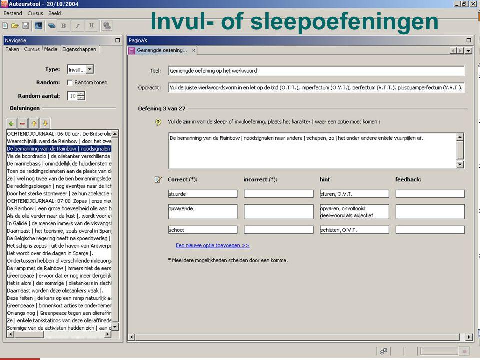 Invul- of sleepoefeningen