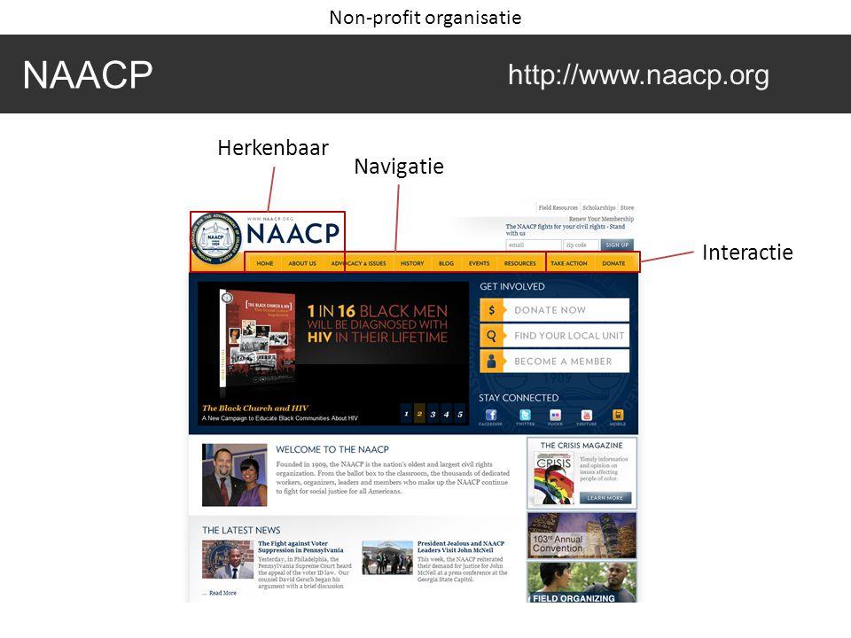 NAACP http://www.naacp.org Herkenbaar Navigatie Interactie Non-profit organisatie
