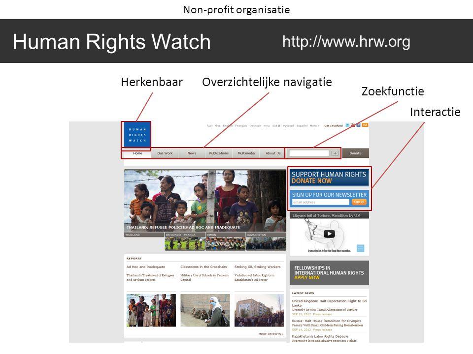 Human Rights Watch http://www.hrw.org HerkenbaarOverzichtelijke navigatie Zoekfunctie Interactie Non-profit organisatie
