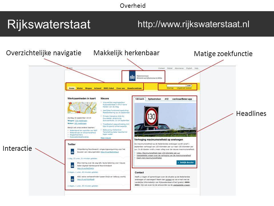 Rijkswaterstaat http://www.rijkswaterstaat.nl Makkelijk herkenbaarOverzichtelijke navigatie Matige zoekfunctie Headlines Interactie Overheid