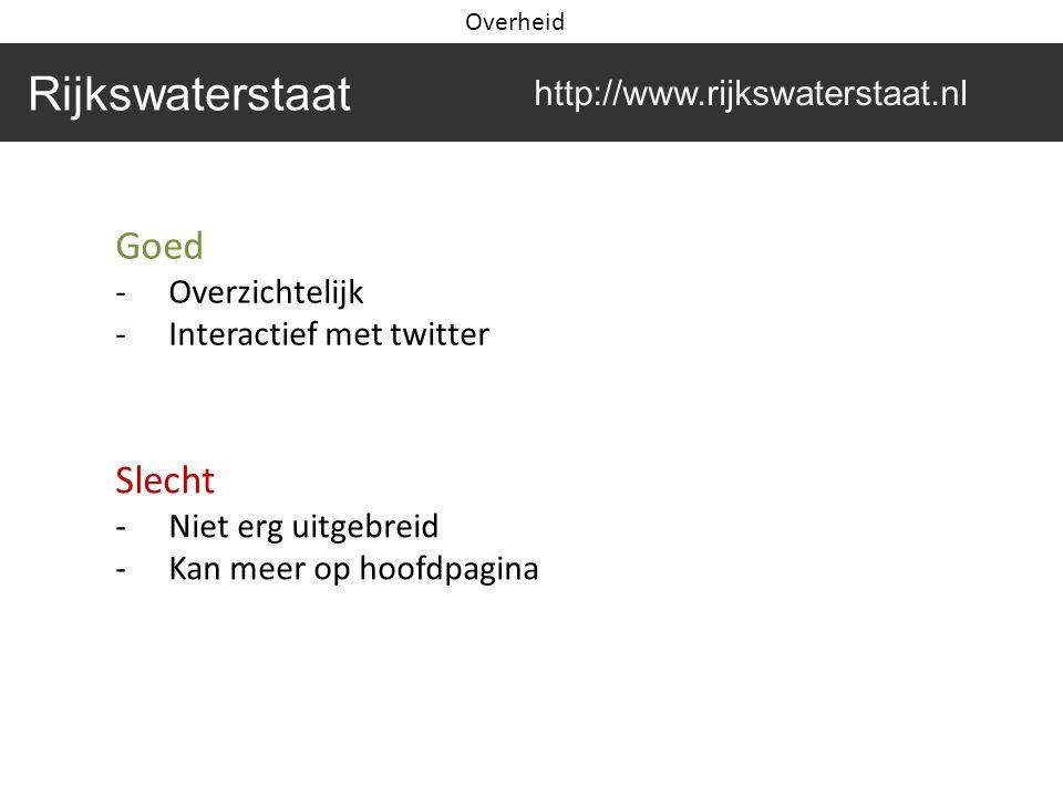 Goed -Overzichtelijk -Interactief met twitter Slecht -Niet erg uitgebreid -Kan meer op hoofdpagina Rijkswaterstaat http://www.rijkswaterstaat.nl Overheid