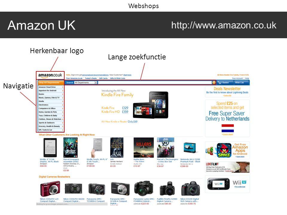 Amazon UK http://www.amazon.co.uk Webshops Herkenbaar logo Lange zoekfunctie Navigatie