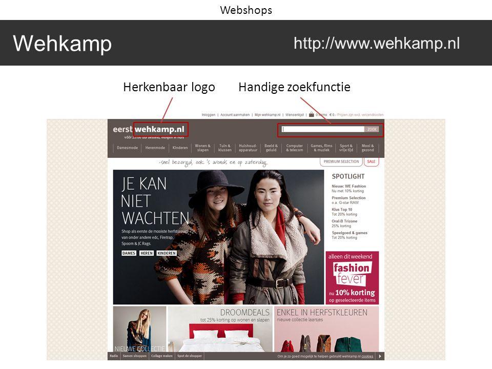 Wehkamp http://www.wehkamp.nl Webshops Herkenbaar logoHandige zoekfunctie