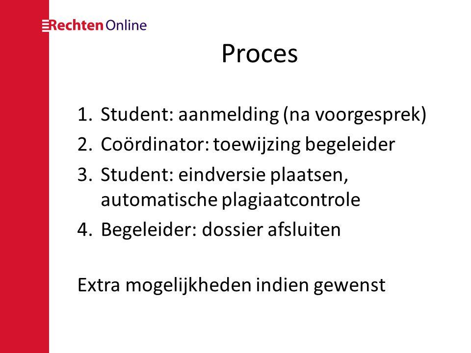 Proces 1.Student: aanmelding (na voorgesprek) 2.Coördinator: toewijzing begeleider 3.Student: eindversie plaatsen, automatische plagiaatcontrole 4.Beg