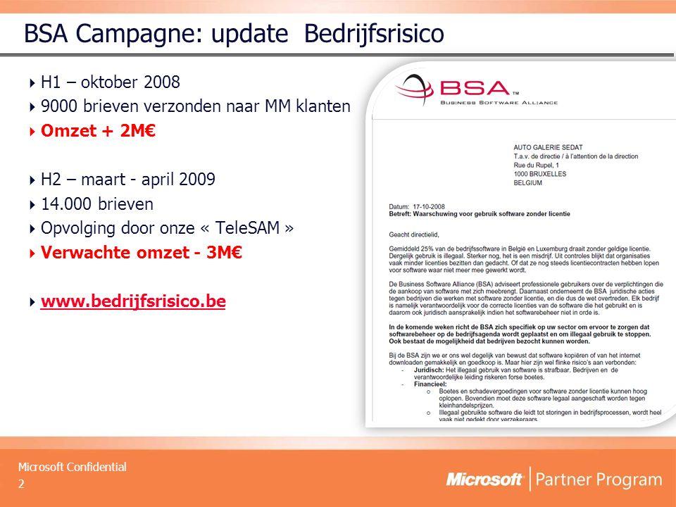 Microsoft Confidential BSA Campagne: update Bedrijfsrisico  H1 – oktober 2008  9000 brieven verzonden naar MM klanten  Omzet + 2M€  H2 – maart - april 2009  14.000 brieven  Opvolging door onze « TeleSAM »  Verwachte omzet - 3M€  www.bedrijfsrisico.be www.bedrijfsrisico.be 2
