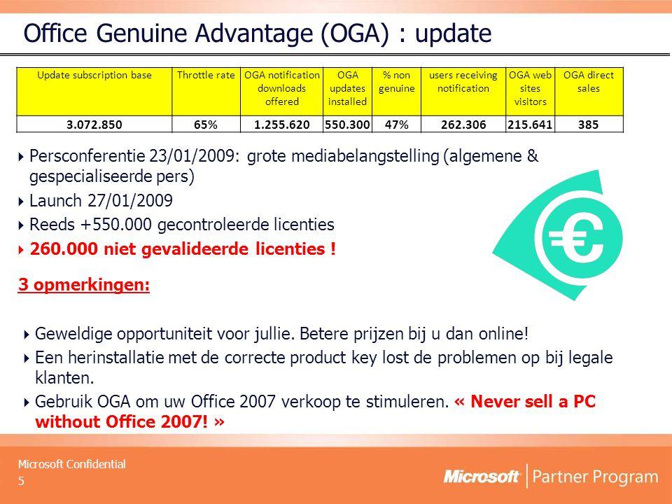 Microsoft Confidential Office Genuine Advantage (OGA) : update  Persconferentie 23/01/2009: grote mediabelangstelling (algemene & gespecialiseerde pers)  Launch 27/01/2009  Reeds +550.000 gecontroleerde licenties  260.000 niet gevalideerde licenties .