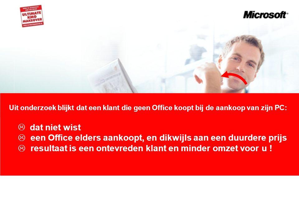 Uit onderzoek blijkt dat een klant die geen Office koopt bij de aankoop van zijn PC:  dat niet wist  een Office elders aankoopt, en dikwijls aan een duurdere prijs  resultaat is een ontevreden klant en minder omzet voor u !
