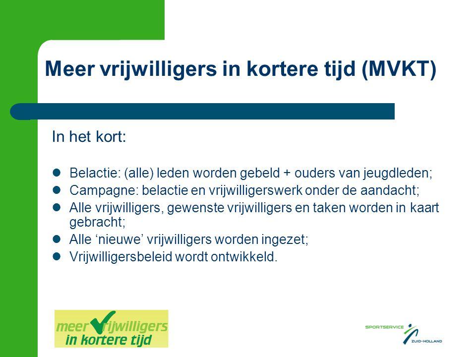  Kern > wervingsactie  Vier workshops, vijf tot acht deelnemende clubs  Procesbegeleiding door deskundige  Alle benodigde documenten in de werkmap + digitaal beschikbaar MVKT