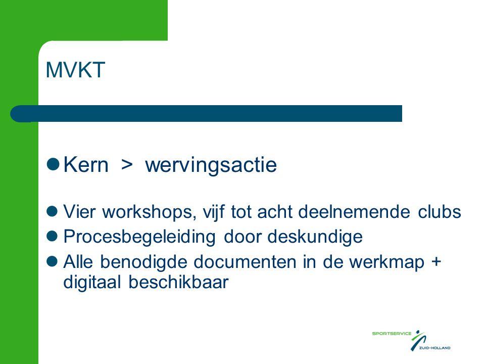  Inzet Per vereniging –twee tot drie deelnemers –30 minuten per week –3 tot 4 maanden MVKT