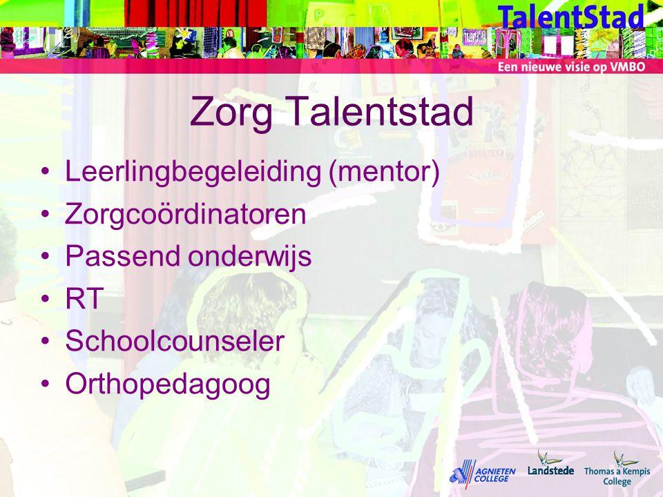 Zorg Talentstad •Leerlingbegeleiding (mentor) •Zorgcoördinatoren •Passend onderwijs •RT •Schoolcounseler •Orthopedagoog