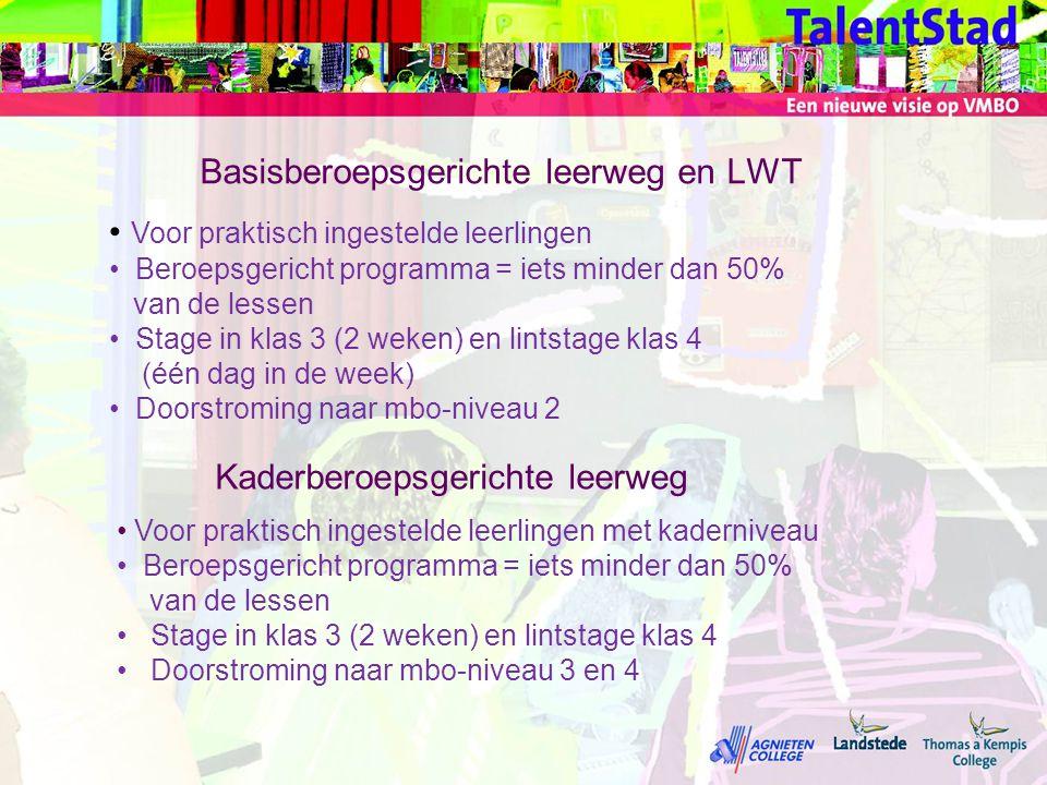 Basisberoepsgerichte leerweg en LWT • Voor praktisch ingestelde leerlingen • Beroepsgericht programma = iets minder dan 50% van de lessen • Stage in k