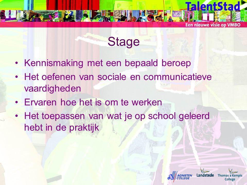Stage •Kennismaking met een bepaald beroep •Het oefenen van sociale en communicatieve vaardigheden •Ervaren hoe het is om te werken •Het toepassen van