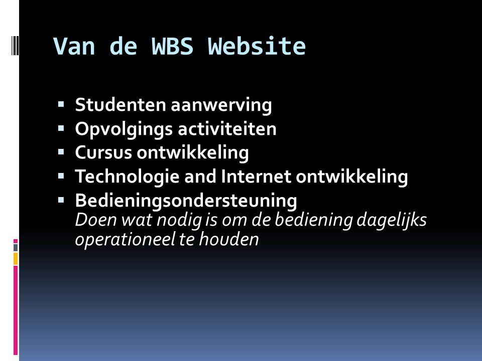 Van de WBS Website  Studenten aanwerving  Opvolgings activiteiten  Cursus ontwikkeling  Technologie and Internet ontwikkeling  Bedieningsonderste