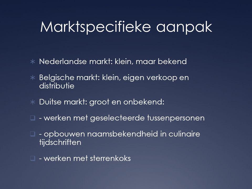Marktspecifieke aanpak  Nederlandse markt: klein, maar bekend  Belgische markt: klein, eigen verkoop en distributie  Duitse markt: groot en onbekend:  - werken met geselecteerde tussenpersonen  - opbouwen naamsbekendheid in culinaire tijdschriften  - werken met sterrenkoks