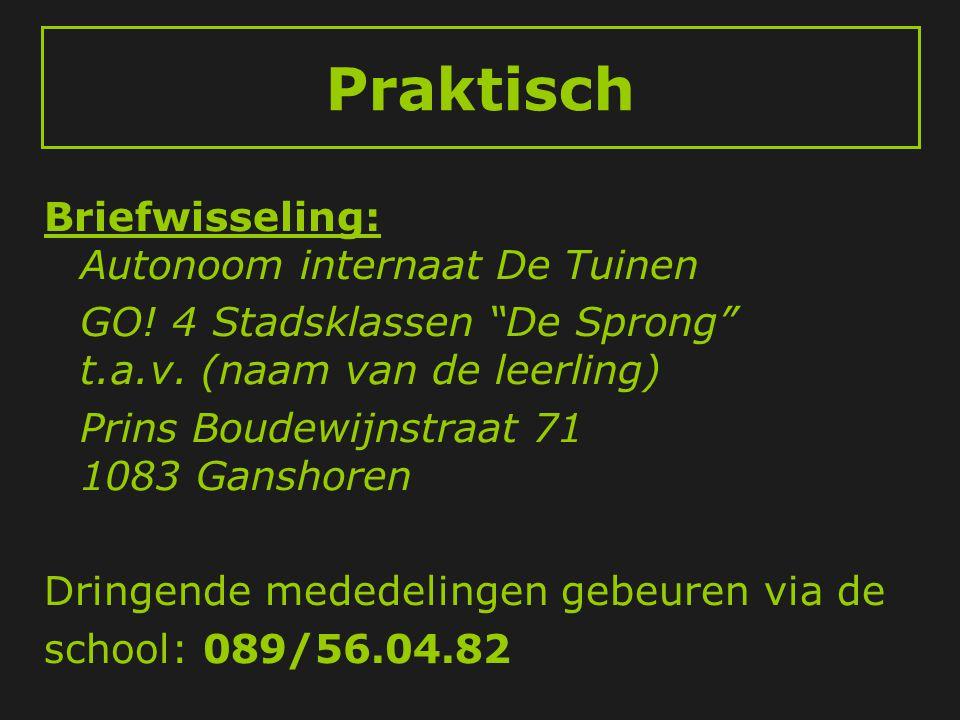 """Praktisch Briefwisseling: Autonoom internaat De Tuinen GO! 4 Stadsklassen """"De Sprong"""" t.a.v. (naam van de leerling) Prins Boudewijnstraat 71 1083 Gans"""