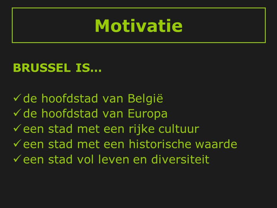 Motivatie BRUSSEL IS…  de hoofdstad van België  de hoofdstad van Europa  een stad met een rijke cultuur  een stad met een historische waarde  een